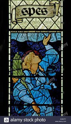 """Spes"", South window (detail). Church of Saint Martin, Brampton, Cumbria, England, U.K., Europe"