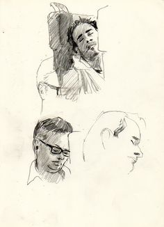 People on train by Urban Sketcher, Martin Etienne