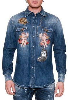 Dolce & Gabbana Cherub & Rose Embroidered Denim Shirt, Blue