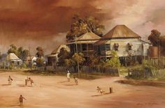 Cricketers by D'Arcy Doyle Australian Painting, Australian Artists, Landscape Art, Landscape Paintings, Gold Coast, Cricket, Families, Landscaping, Beautiful Pictures