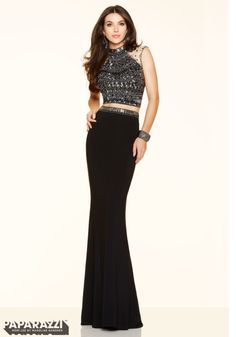 2 Piece Jeweled Beading on Jersey Prom Dress