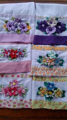Fabric flowers on pllowcase or tea towel; Panos de prato decorado com fuxico Grandmothers Flowers - love this outer ring ideaThis Pin was discovered by Ros Fabric Crafts, Sewing Crafts, Sewing Projects, Silk Ribbon Embroidery, Hand Embroidery, Quilt Patterns, Sewing Patterns, Yo Yo Quilt, Fabric Flowers