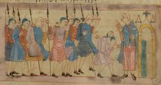Joseph's Brothers Go to Egypt to Buy Grain, British Library, MS Cotton Claudius B IV, Old English Hexateuch