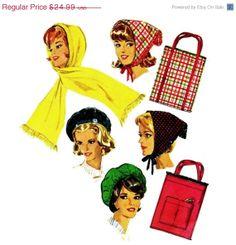 SALE 1960s Beret Hood Scarf Tote Bag 60s Vintage by patternshop, $21.24