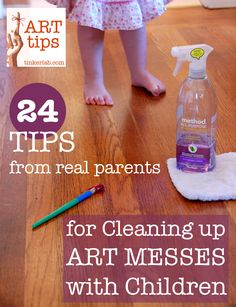 Tinkerlab gives us 24 tips from real parents for cleaning up art messes with children for Method's Clean Like a Mother campaign Diy Cleaning Products, Cleaning Solutions, Cleaning Hacks, Art For Kids, Crafts For Kids, Teaching Art, Art Tips, Clean Up, Along The Way