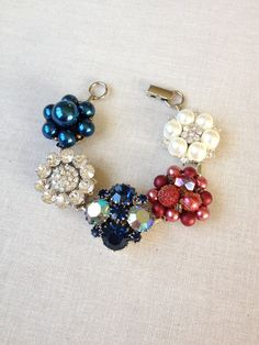 Vintage earring bracelet red white and blue by ChicMaddiesBoutique