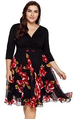 88eb854a965 TINHAO Women s Plus Size Floral Print V-Neckline 3 4 Slee.