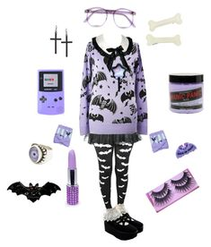 """Pastel Coordination, Pastel Goth (Lilac and Black)"" by chamalow-kawaii ❤ liked on Polyvore featuring ASOS, Nintendo, Warehouse, Manic Panic, BOBBY, women's clothing, women's fashion, women, female and woman"