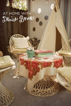 I adore this outdoor setting, add n the table cloth and I am in heaven - At Home with Denise Bovee