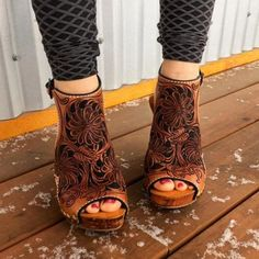 Style: Fashion, Stylish   Item Boots   Upper Material Faux Leather   Toe: Closed Toe   Closure Type: Adjustable Buckle Brown Leather Sandals, Leather Wedges, Leather Shoes, Suede Leather, Cute Shoes, Me Too Shoes, Heeled Boots, Shoe Boots, Western Shoes