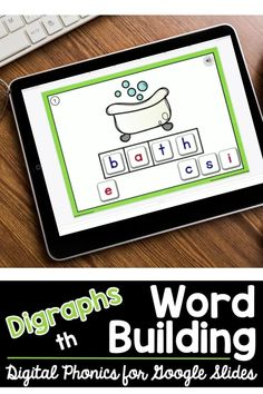 Looking for digital digraph phonics practice for distance learning? This kindergarten, first grade, or 2nd grade Google Slides Digraph Word Building resource includes ten word building Google Slides. Each slide features a picture of word spelled with digraph th, clickable audio so students can hear the word pronounced, and word building tiles. Students click and drag the tiles to spell each word. Fun and easy to assign in Google Classroom! Word Work Games, Word Work Activities, Learning Activities, Teaching Vocabulary, Teaching Phonics, Teaching Kindergarten, Digital Word, Teaching Second Grade, Phonics Words