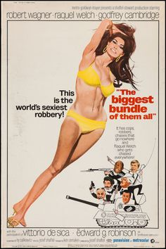 """The Biggest Bundle of Them All (MGM, 1968). Poster (40"""" X 60""""). Comedy. Starring Robert Wagner, Raquel Welch, Godfrey Cambridge, Vittorio De Sica, Edward G. Robinson, Davey Kaye, Francesco Mule, and Victor Spinetti. Directed by Ken Annakin."""
