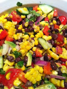Simple Escapes: The Eats: Fresh Corn Salad ~ I use all the same ingredients minus the black beans to keep it light and summery!