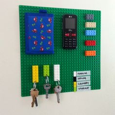 Lego organizer. Going to make a car phone mount to compliment this. Good idea  with the key holder.