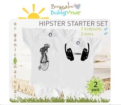 hipster baby | Organic baby set, hipster onesies, baby boy or girl, baby shower ...