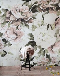 Dusty peony floral wallpaper removable blush flowers flowers art floral wall art peonies peony peel and stick murals # 28 t Flowers Wallpaper, Paper Wallpaper, Large Floral Wallpaper, Wallpaper Bathroom Walls, Wall Wallpaper, Leopard Tapete, Dark Paint Colors, Blush Flowers, Floral Flowers