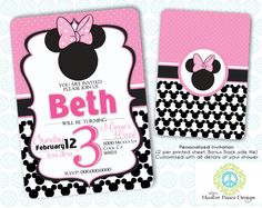 Minnie Mouse Birthday Invitation 2 sided by MasterPeaceDesigns