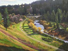 William E. Elston, Latah Creek Spring, oil on canvas, 30 x 40 inches, work in progress copyright ©2015