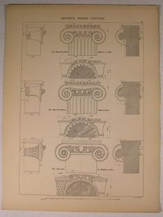 Greek Ionian Capitol Beautiful C 1900 Antique Architecture Print Detailed | $22.45