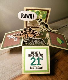 Stampin Up - 'No Bones About It' stamp set used to make dinosaur Pop Up Box for 21st Birthday (or any age). Box made using Tattered Lace Essential Pop Up Box Die Set