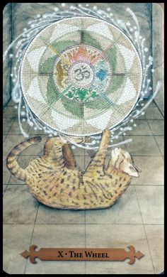 The Wheel of Fortune - Mystical Cats Tarot by Lunaea Weatherstone, Mickie Mueller Wheel Of Fortune Tarot, Fortune Telling Cards, Tarot Major Arcana, Cartomancy, Mystique, Oracle Cards, Tarot Decks, Tarot Cards, Occult