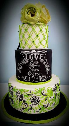 Chalkboard Wedding cake by Sweet Grace Anna's in Chardon,  Ohio with Corinthians biblical quote.