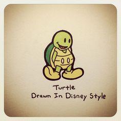 Turtle Drawn In Disney Style