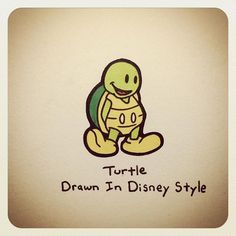 Turtle Drawn In Disney Style