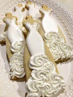 Rosette Wedding Entourage Dress Cookies-10 by MarinoldCakes