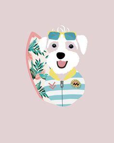 Custom Dog Portrait by Woof Models - Westie - Poodle Mix. Model is wearing Oakley Commit SQ Sport Sunglasses, Billabong Surf Capsule Sprintsuit & Tropical Longboard.