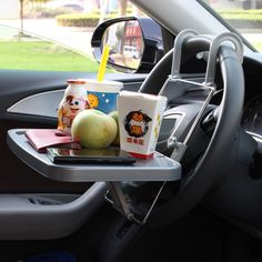 Car SUV Auto Laptop Tray Dining Table Fold Stand Holder Steering Wheel Mount Desk Grey