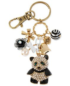 Betsey Johnson Accessories, Antique Gold-Tone Glass Crystal Panda Key Chain - Fashion Jewelry - Jewelry & Watches - Macy's