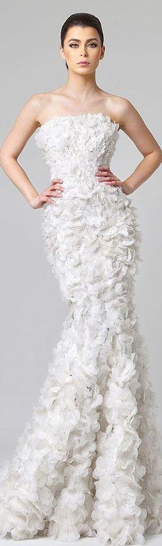 ༻ಌRani Zakhemಌ༺ | S/S 2014 white floral gown