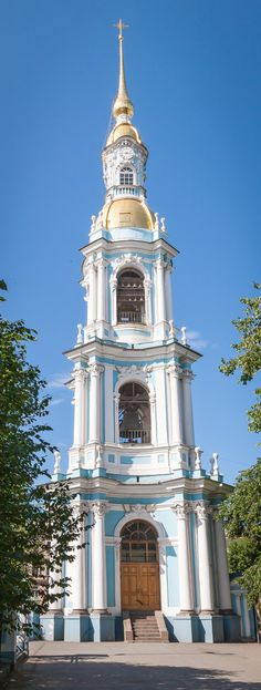 The bell tower of St Nicholas Naval Cathedral, St Petersburg, Russia