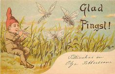 Easter Artist Signed 1905 Glad Pingst! Glad Pentecost Boy Plays Insects Postcard   Moodys Collectibles Vintage Postcards Antique Victorian Topic Tradecards Foreign