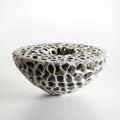 'Semi Sphere' (2008) by Swedish-born, Denmark-based ceramic artist Barbro Aberg (b.1958). 13 x 30 x 30 cm. via the artist's site