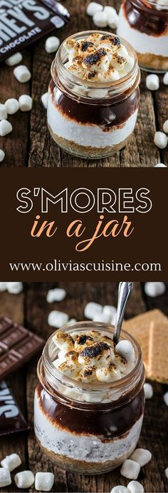 S'mores in a Jar | www.oliviascuisin... | No campfire? No problem! This recipe for S'mores in a Jar is made at the comfort of your home and can be enjoyed indoors! #LetsMakeSmores #Ad