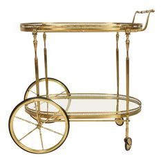 View this item and discover similar for sale at - For your consideration, an Italian service cart. Made in brass with rubber wheels. Two glass shelves in an oval shape. Antique Tea Cart, Brass Bar Cart, Bar Cart Decor, Cool Bars, Hollywood Regency, Glass Shelves, Bars For Home, Table Furniture, Home Interior Design