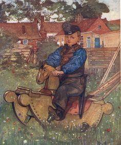 1904, Nico Jungman,  Boy on Rocking Horse, Antique / Vintage Art Print, Antique Book Plate, Illustration Art,