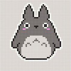 Totoro pattern for knit or crochet. Pixel Art Templates, Perler Bead Templates, Diy Perler Beads, Perler Bead Art, Beaded Cross Stitch, Cross Stitch Embroidery, Cross Stitch Patterns, Crochet Stitches For Blankets, Crochet Pillow