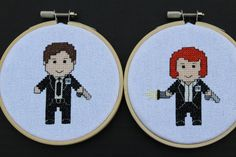 Mulder and Scully X-Files Cross Stitch Pattern. Cute!!!