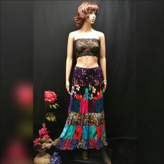 Boho Chic Skirt, Colorful Boho Maxi Skirt, Bohemian Clothing, Patchwork Skirt, OOAK Hippie, Gypsy Patchwork Skirt, Draw String Maxi Skirt. www.etsy.com/listing/487084711/boho-chic-skirt-colorful-boho-maxi-skirt