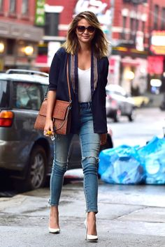 "Chrissy Teigen in Soho wearing a pair of Citizens of Humanity Rocket jeans in ""Stage Coach"" in New York City on March 31, 2015."