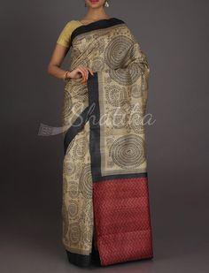 Sneha Full Orante Plain Pallu Designer #MadhubaniHandPaintedSaree