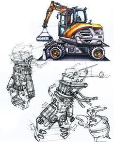 "556 Likes, 6 Comments - 정상현 Sanghyeon.Jeong(25) (@sanghyeon.jeong1993) on Instagram: ""Construction euipment sketch 굴삭기의 팔 끝에 옵션으로 달 수 있는 크러셔 Lay out~ Excavator crusher…"""
