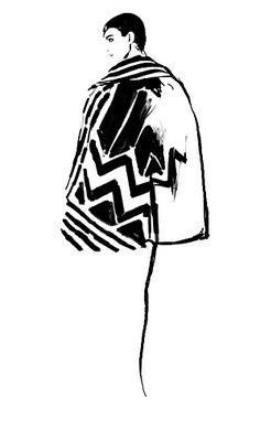 Judith van den Hoek- Ink- Hoek's work has a strong focus around the garment. In this illustration there is a patterned coat is that uses only geometric shapes that interlock together without the need for additional line work. This heavy line work is contrasted by the fine vertical becomes suggestive of legs.