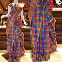 High creative quotient: A chic checked pure Kanchipuram silk saree. Price: Rs 9575.