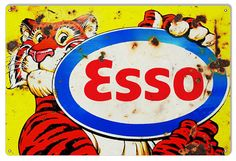 Esso Exxon Tiger Spirit Aviation garage man cave gasoline round metal  sign