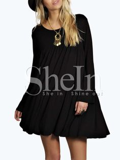 Black Lbd Ribbed Baggy Long Sleeve Loose Dress -SheIn(Sheinside) Mobile Site