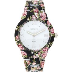 Decree Womens Black Floral Print Strap Bracelet Watch ($21) ❤ liked on Polyvore featuring jewelry, watches, multicolor jewelry, decree jewelry, bezel jewelry, dial watches and floral jewelry